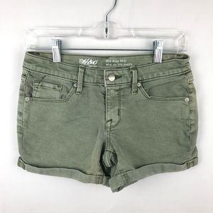 Mossimo Mid Rise Midi Army Green Shorts